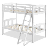 Hardwood Twin Bunk Beds with Individual Kid Bed Ladder