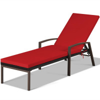 Outdoor Adjustable Reclining Patio Rattan Lounge Chair
