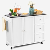 Kitchen Island 2-Door Storage Cabinet with Drawers and Stainless Steel Top