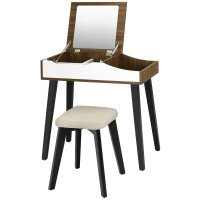 Vanity Table Set with Flip Top Mirror and Padded Stool