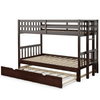 Twin Pull-Out Bunk Bed with Trundle Wooden Ladder
