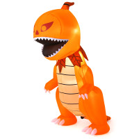 8 Feet Halloween Inflatables Pumpkin Head Dinosaur with LED Lights and 4 Stakes
