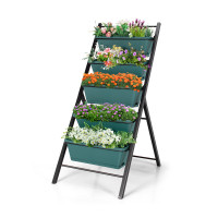5-tier Vertical Garden Planter Box Elevated Raised Bed with 5 Container