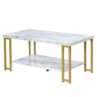 Modern Coffee Table Faux Marble Top Accent Cocktail Table