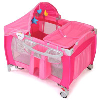 Foldable Baby Crib Playpen w/ Mosquito Net and Bag