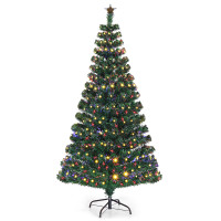 5'/6'/7' LED Fiber Optic Artificial Christmas Tree with Top Star
