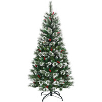6 feet Snow Flocked Artificial Christmas Hinged Tree with Red Berries