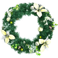 24 Inch Pre-lit Artificial Christmas Wreath with Mixed Decorations