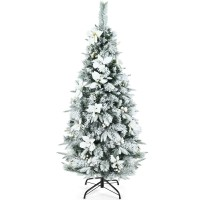 5 Feet Snow Flocked Christmas Pencil Tree with Berries and Poinsettia Flowers