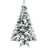 5ft Snow Flocked Hinged Christmas Tree with Berries and Poinsettia Flowers