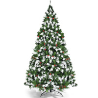 Pre-lit Snow Flocked Christmas Tree with Red Berries and LED Lights