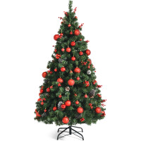 Pre-lit Christmas Hinged Tree with Red Berries and Ornaments