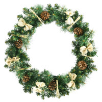 30 Inches Pre-lit Christmas Wreath with Mixed Decorations