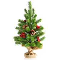 20 InchTabletop PE Christmas Tree Holiday Decor with Pine Cones and Red Berries