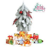 """19"""" Snow Flocked Christmas Tree with Pine Cones and Red Berries"""