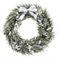 24 Inch Snowy Artificial Christmas PE Wreath with Pine Cones