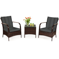 3 Pieces Patio Conversation Rattan Furniture Set with Glass Top Coffee Table and Cushions