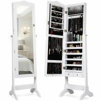 Mirrored Jewelry Cabinet Storage with Drawer and Led Lights