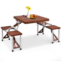 Portable Folding Picnic Table with Seating for Garden Camping