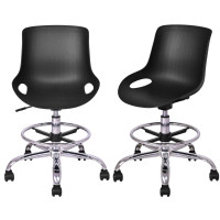 Set of 2 Armless PP Swivel Height Adjustable Desk Chair with Footrest