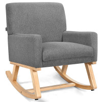 Rocking Chair Upholstered Armchair with Fabric Padded Seat