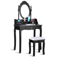 Vanity Table Set with Cushioned Stool with 360° Rotating Oval Mirror and Three Drawers