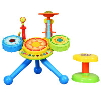 Kids Electric Jazz Drum Set with Stool Microphone & LED Light