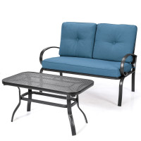 2 Pcs Patio Outdoor Cushioned Coffee Table Seat