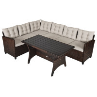 3 Pieces Rattan Sofa Set with Cushions for Patio, Garden, Lawn