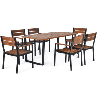 7 Pcs Outdoor Patio Dining Table Set with Hole