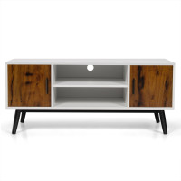 Modern TV Stand with Cabinets and Open Shelves