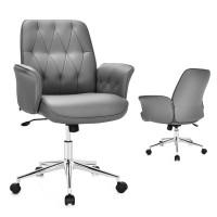 Modern Home Office Leisure Chair PU Leather Adjustable Swivel with Armrest