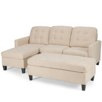 L-shaped Linen Reversible Sectional Sofa with Ottoman