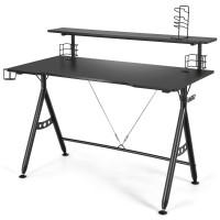 E-Sports Gaming Desk with Monitor Shelf and Cup Holder