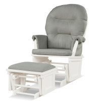 Baby Nursery Wooden Rocking Chair with Armrests and Cushion