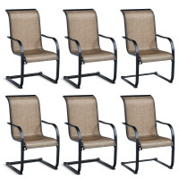 6 Pieces Patio Dining Chairs with Armrests and Neck Support