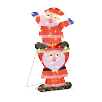 LED Double Santa Yard Sign with String Lights and 4 Stakes