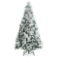 6 Feet Snow Flocked Christmas Tree with Pine Cone and Red Berries