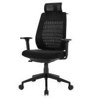 High Back Mesh Office Chair Swivel Reclining Task Chair with Clothes Hanger