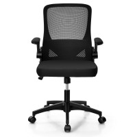Swivel Mesh Office Chair with Foldable Backrest and Flip-Up Arms