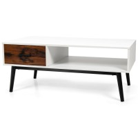 Modern Wood Sofa Table with Open Storage Shelf and Drawer