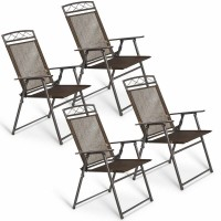 Set of 4 Patio Folding Sling Chairs Steel Camping Deck