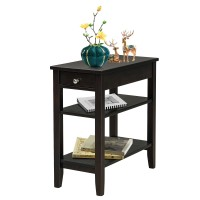 3-Tier Side End Table with Drawer Double Shelf