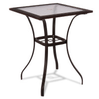 28.5 Inch Outdoor Patio Square Glass Top Table with Rattan Edging
