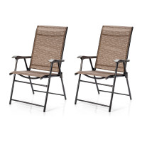2 Pieces Outdoor Patio Folding Chair with Armrest for Camping Garden