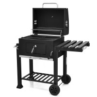 Outdoor Portable Charcoal Grill with Side Table