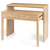 Extendable Computer Desk with Pull Out Secondary Desk