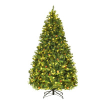 3 Size Artificial Christmas Tree with LED Lights and Pine Cones