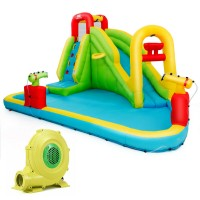 Deals on Costway Outdoor Inflatable Water Bounce House w/ 480W Blower