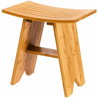 "18"" Bamboo Shower Stool Bench with Shelf"